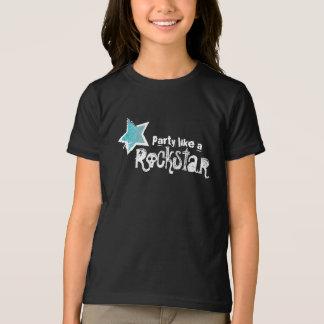 Party mögen einen Rockstar- blauen Glitter-Stern-T T-Shirt