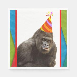 Party mögen einen Tiergorilla mit Hut-Geburtstag Serviette