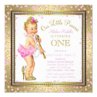 Party-Rosa-Gold Mädchen-Prinzessin-1. Geburtstag Quadratische 13,3 Cm Einladungskarte