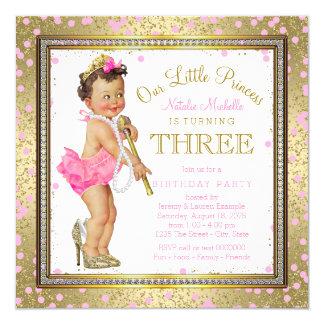 Party-Rosa-Gold Mädchen-Prinzessin-3. Geburtstag Quadratische 13,3 Cm Einladungskarte
