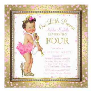 Party-Rosa-Gold Mädchen-Prinzessin-4. Geburtstag Quadratische 13,3 Cm Einladungskarte