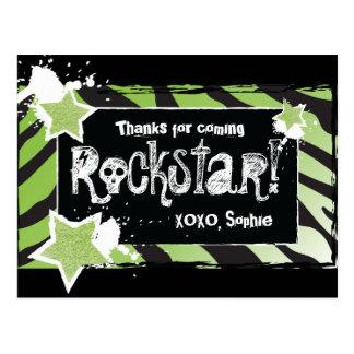 Party wie ein Rockstar- Grün danken Ihnen Postkarte