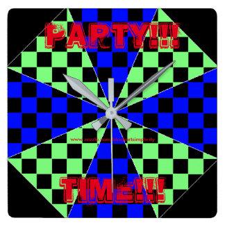 Party-Zeit-Uhr Quadratische Wanduhr