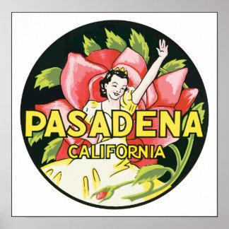 Pasadena Kalifornien, Vintag Poster