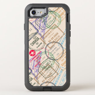 Pass-Briefmarken-Reise Themed OtterBox Defender iPhone 8/7 Hülle