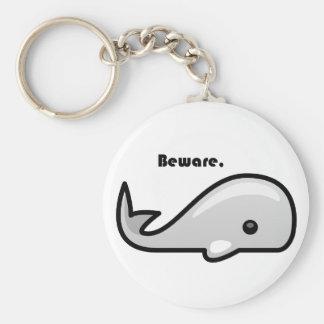 Passen Sie den weißer Wal-Cartoon auf Schlüsselanhänger