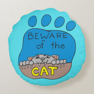 Passen Sie vom Katzen-Druck auf Türkis auf Rundes Kissen
