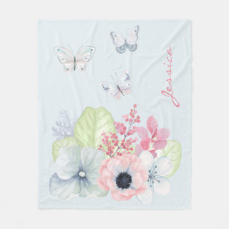 PastellBlumen und Schmetterlings-Fleece-Decke Fleecedecke