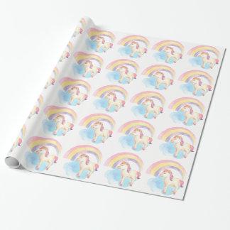 PastellEinhorn auf Wolke, Regenbogen-Packpapier Geschenkpapier