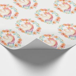 PastellEinhorn, BlumenKranz-Packpapier Geschenkpapier