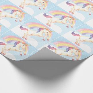 PastellEinhorn, Wolken, Regenbogen-Packpapier Geschenkpapier