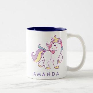 Pastellfarbe des niedlichen magischen Unicorn Zweifarbige Tasse