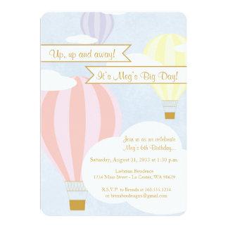 Pastellheißluft-Ballon-Party Karte