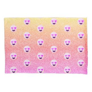 PastellOmbre Glitzern-Herz mit Augen Emoji Kissenbezug