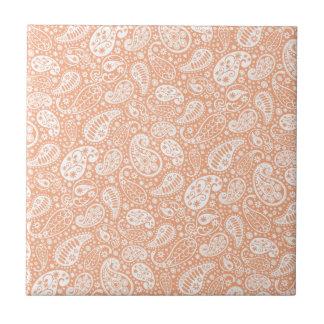 Pastellpfirsich Paisley Kleine Quadratische Fliese