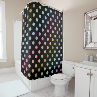 Pastellregenbogen-Tupfen-schwarzer Hintergrund Duschvorhang