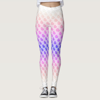 Pastellrosa-lila Herz Kawaii Leggings