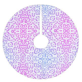 Pastellrosa-lila Leopard-Katzen-Tierdruck Polyester Weihnachtsbaumdecke