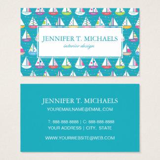 PastellSegelboot-Muster Visitenkarte