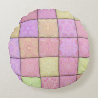 Pastellsteppdecke 1 (I) Rundes Kissen