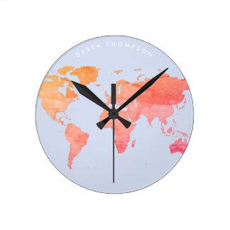 Pastelltonkarte der Welt Runde Wanduhr