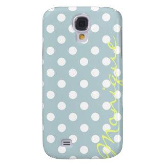 PastellTürkis u. weiße Punkte mit Namen Galaxy S4 Hülle