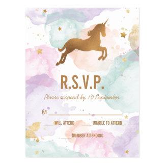 Pastellunicorn-Geburtstags-Party UAWG Postkarte