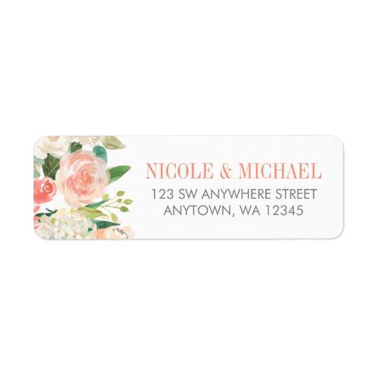 Pastellwatercolor-Blumen-Rücksendeadresse