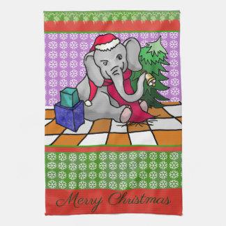 Patchwork-Art-frohe Weihnacht-Elefant Küchentuch