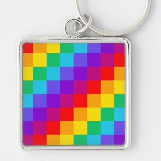 Patchwork-Regenbogen großes quadratisches Keychain Schlüsselanhänger