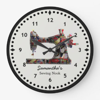 Patchwork-Steppdecken-Nähmaschine-Wanduhr Uhren