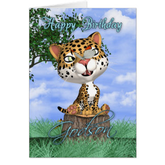 Patensohn-Geburtstags-Karte mit niedlichem Jaguar Karte