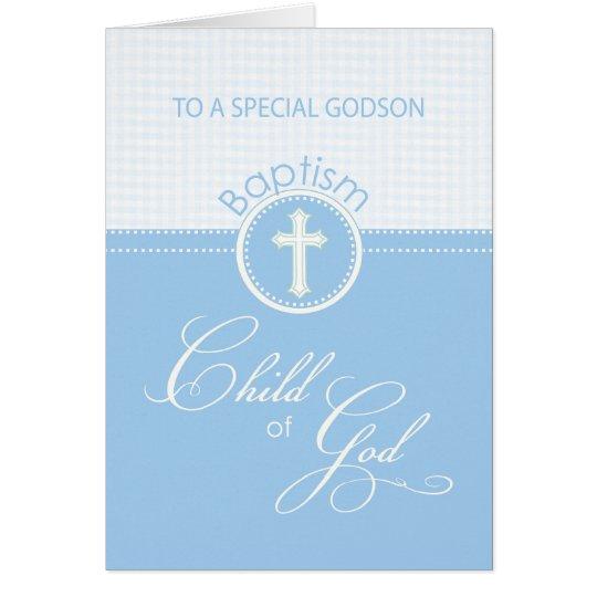 Patensohn-Taufe-Glückwunsch-blaues Kind des Gottes Grußkarte