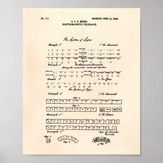 Patent-Kunst altes Peper des Morsealphabet-1848 Poster