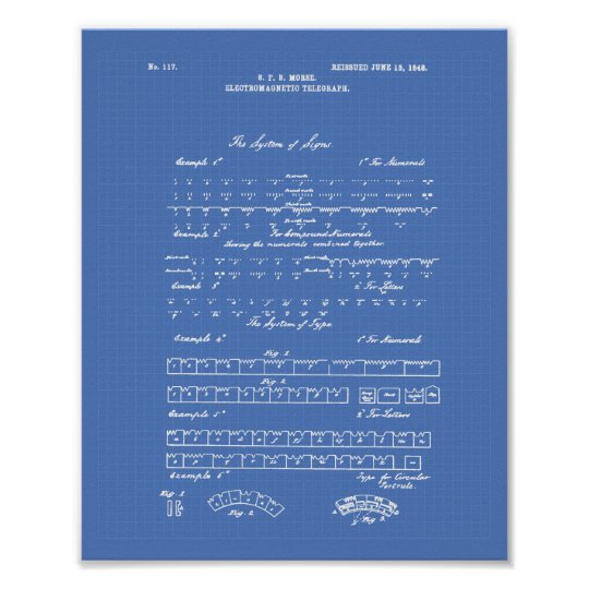 Patent-Kunst-Plan des Morsealphabet-1848 Poster