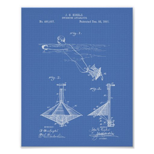 Patent-Kunst-Plan des Schwimmen-Apparat1891 Poster