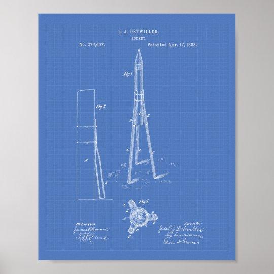 Patent-Kunst-Plan Rockets 1883 Poster
