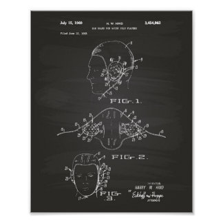 Patent-Kunst-Tafel des Ohr-Schutz-Wasserball-1969 Poster