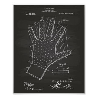 Patent-Kunst-Tafel des Schwimmen-Handschuh-1916 Poster