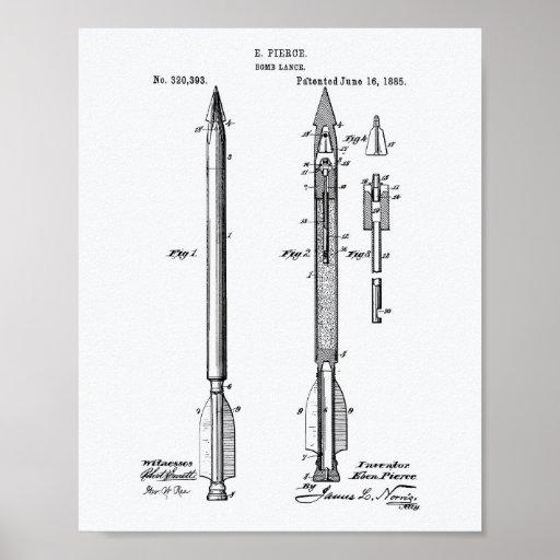 Patent-Kunst-Weißbuch der Bomben-Lanzen-1885 Poster