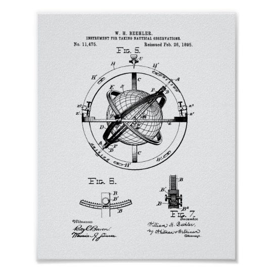 Patent-Kunst-Weißbuch Nautacal Beobachtungs-1895 Poster