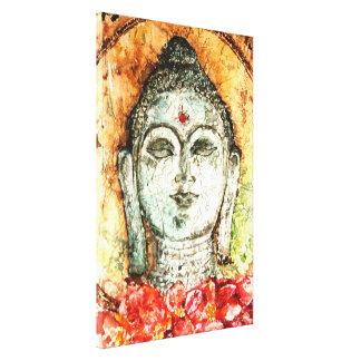 Patina-Bali Buddha Watercolor-Leinwand-Druck 17x25 Leinwanddruck