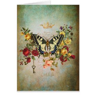 Patina und Schmetterling Karte