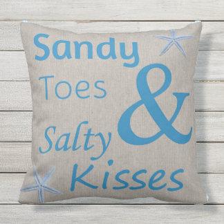 Patio-Kissen-Sandy-Zehen und salziger Kuss-Strand Kissen Für Draußen