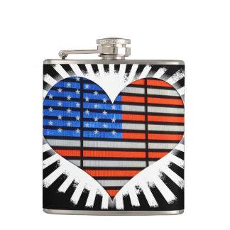Patriot-Herz-amerikanische Flagge Flachmann
