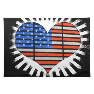 Patriot-Herz-amerikanische Flagge Stofftischset