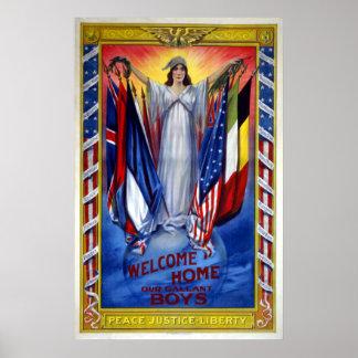 Patriotique vintage, liberté de justice de paix poster