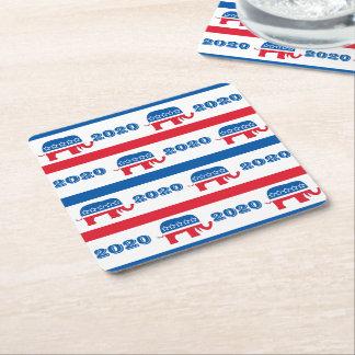 Patriotische 2020 republikanische Elefant-Streifen Rechteckiger Pappuntersetzer