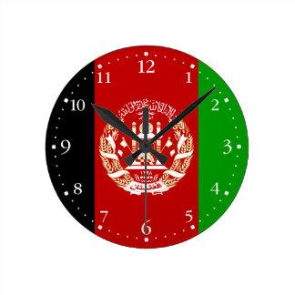Patriotische afghanische Flagge Runde Wanduhr