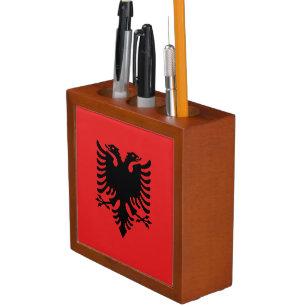 Patriotische albanische Flagge Stifthalter